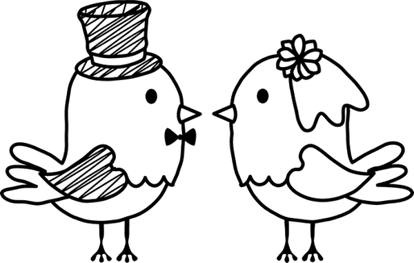 Bride And Groom Birds Rubber Stamp - Stamptopia