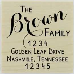 "Brown Script Return Address Stamp - 1.5"" X 1.5"" - Stamptopia"