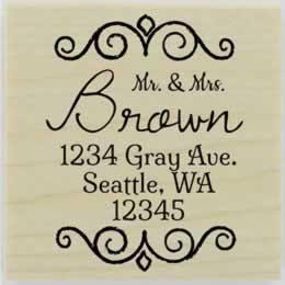 "Brown Swirl Border Address Stamp - 2"" X 2"" - Stamptopia"