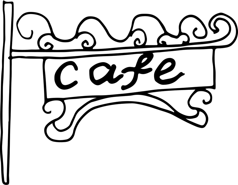 Cafe Sign Rubber Stamp - Stamptopia