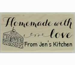 "Cake Slice Homemade With Love Custom Stamp - 1.5"" X 0.75"" - Stamptopia"