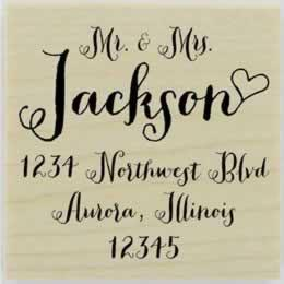 "Calligraphy & Last Name With Heart Stamp - 1.5"" X 1.5"" - Stamptopia"
