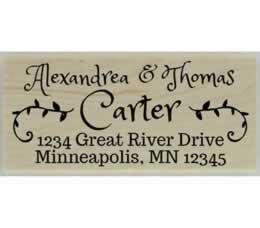 "Carter Decorative Calligraphy Address Stamp - 2.5"" X 1.25"" - Stamptopia"