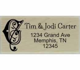 "Carter Decorative Swirl Monogram Address Stamp - 2.5"" X 1"" - Stamptopia"
