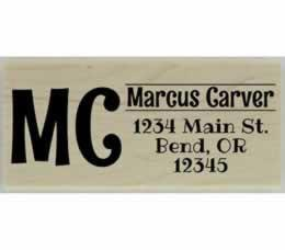 "Carver Initial Monogram Address Stamp - 2.5"" X 1"" - Stamptopia"