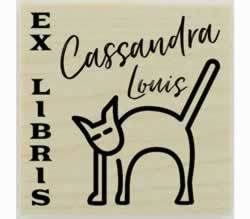 "Cat Custom Ex Libris Stamp - 1.5"" X 1.5"" - Stamptopia"