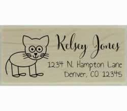 "Cat Drawing Outline Custom Rubber Stamp - 2.5"" X 1"" - Stamptopia"