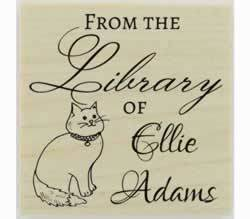 "Cat From The Library Of Custom Rubber Stamp - 1.5"" X 1.5"" - Stamptopia"