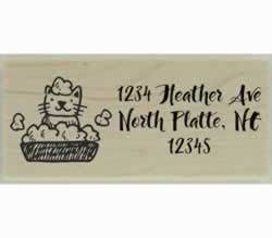 "Cat in Bubble Bath Custom Rubber Stamp - 2.5"" X 1"" - Stamptopia"