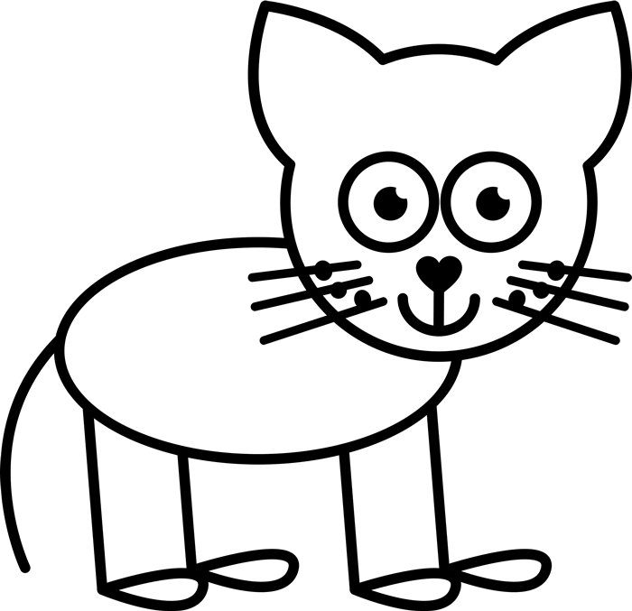 Cat Outline Rubber Stamp - Stamptopia