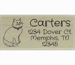 "Cat Sitting Outline Custom Rubber Stamp - 2.5"" X 1"" - Stamptopia"