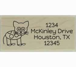 "Cat with Spots Custom Rubber Stamp - 2.5"" X 1"" - Stamptopia"