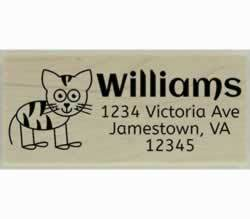 "Cat with Stripes Outline Custom Rubber Stamp - 2.5"" X 1"" - Stamptopia"