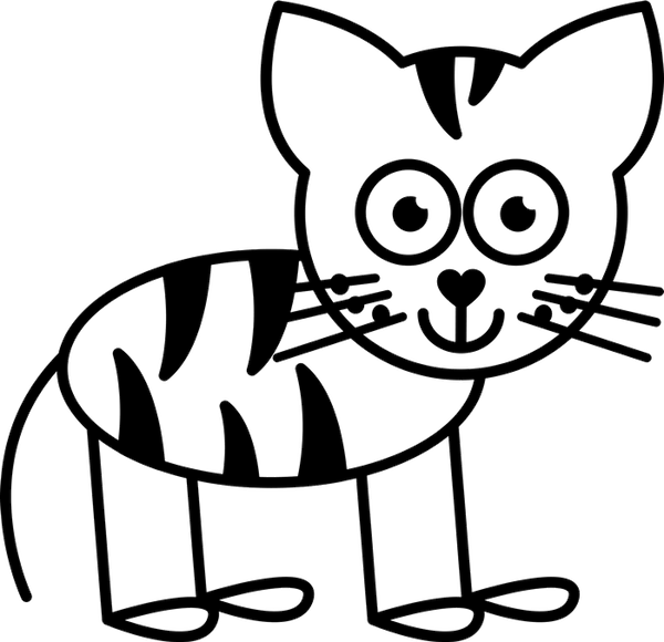 Cat With Stripes Outline Rubber Stamp - Stamptopia