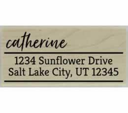 "Catherine Handwritten Return Address Stamp - 2.5"" X 1.25"" - Stamptopia"