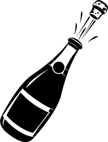 Champagne Bottle Rubber Stamp - Stamptopia