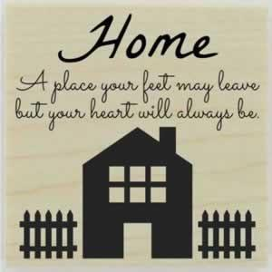 "Charming Home With Fence Quote Stamp - 1.5"" X 1.5"" - Stamptopia"