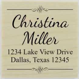 "Christina Calligraphy Address Stamp - 1.5"" X 1.5"" - Stamptopia"