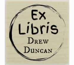 "Circle Border Ex Libris Bookplate Stamp - 1.5"" X 1.5"" - Stamptopia"