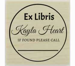 "Circle Border Ex Libris Custom Bookplate Stamp - 1.5"" X 1.5"" - Stamptopia"