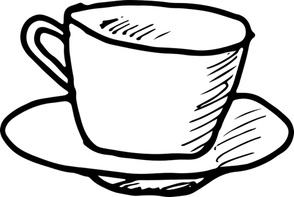 Coffee Cup And Saucer Outline Rubber Stamp - Stamptopia