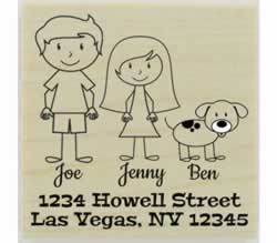 "Couple With Spotted Dog Address Stamp - 2"" X 2"" - Stamptopia"