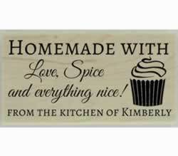 "Cupcake Homemade With Love Custom Stamp - 1.5"" X 0.75"" - Stamptopia"