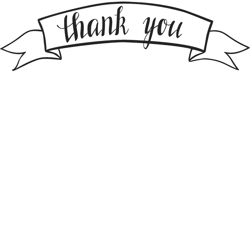 Cursive Thank You Stamp In Ribbon - Stamptopia