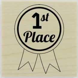 "Custom 1St Place Ribbon Stamp - 2"" X 2"" - Stamptopia"
