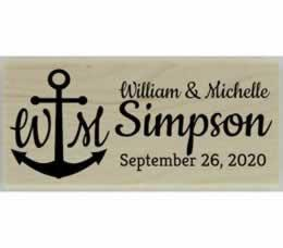 "Custom Anchor & Monogram Address Stamp - 2.5"" X 1"" - Stamptopia"