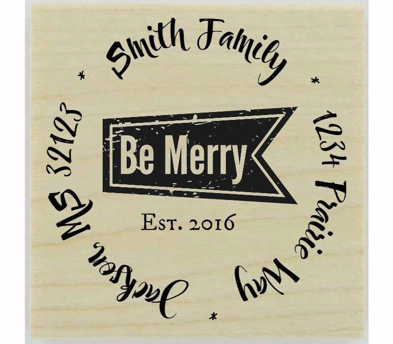 "Custom Be Merry Stamp - 1.5"" X 1.5"" - Stamptopia"