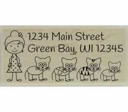 "Custom Cat Lady Address Stamp - 2.5"" X 1.25"" - Stamptopia"