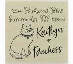 "Custom Cat Sitting Outline Rubber Stamp - 1.5"" X 1.5"" - Stamptopia"
