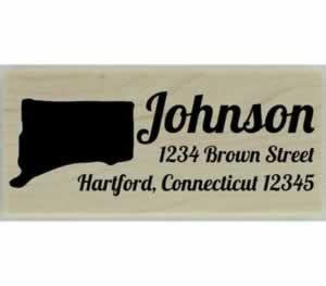 "Custom Connecticut Stamp Design 4 - 2.5"" X 1"" - Stamptopia"