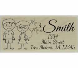 "Custom Couple Address Stamp - 2.5"" X 1.25"" - Stamptopia"
