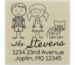 "Custom Couple And Cat Address Stamp - 2"" X 2"" - Stamptopia"