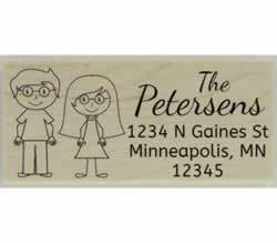 "Custom Couple Return Address Stamp - 2.5"" X 1.25"" - Stamptopia"