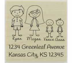 "Custom Couple With Babies Address Stamp - 2"" X 2"" - Stamptopia"