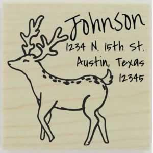 "Custom Deer Return Address Stamp - 1.5"" X 1.5"" - Stamptopia"