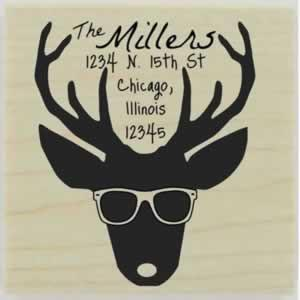 "Custom Deer With Glasses Address Stamp - 1.5"" X 1.5"" - Stamptopia"