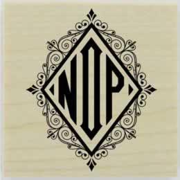 "Custom Diamond Flourish Monogram Stamp - 1.5"" X 1.5"" - Stamptopia"