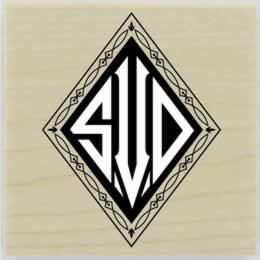 "Custom Diamond Monogram Rubber Stamp - 1.5"" X 1.5"" - Stamptopia"