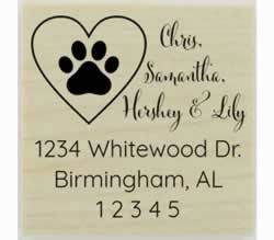 "Custom Dog Paw Print In Heart Address Stamp - 1.5"" X 1.5"" - Stamptopia"