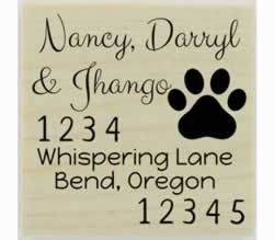 "Custom Dog Paw Print Return Address Stamp - 1.5"" X 1.5"" - Stamptopia"