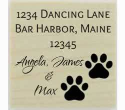 "Custom Dog Paw Prints Address Stamp - 1.5"" X 1.5"" - Stamptopia"