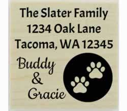 "Custom Dog Paw Prints Circle Address Stamp - 1.5"" X 1.5"" - Stamptopia"