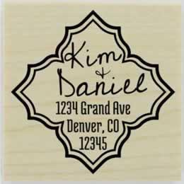 "Custom Double Diamond Border Address Stamp - 2"" X 2"" - Stamptopia"