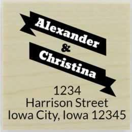 "Custom Double Name Banner Address Stamp - 2"" X 2"" - Stamptopia"