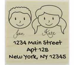 "Custom Face Couple And Names Address Stamp - 2"" X 2"" - Stamptopia"