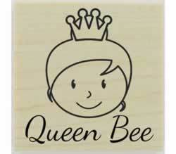 "Custom Face Queen Bee Stamp - 2"" X 2"" - Stamptopia"